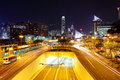 Modern city traffic at night Stock Photos