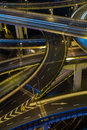 Modern city traffic road at night. Transport junction. Royalty Free Stock Photo