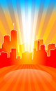 Modern cityscape on retro sunburst pattern with stage and spot o Royalty Free Stock Photo