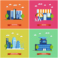 Modern cityscape vector illustration. City buildings set in flat design. Hospital, bistro, smart city and school