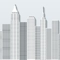 Modern cityscape vector illustration with office buildings and skyscrapers. Part A Royalty Free Stock Photo