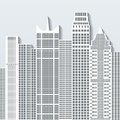 Modern cityscape vector illustration with office buildings and skyscrapers. Part B Royalty Free Stock Photo