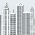 Modern cityscape vector illustration with office buildings and skyscrapers. Part C Royalty Free Stock Photo