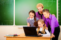 Modern class a teacher and her students during at school education Royalty Free Stock Photos