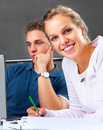 Modern Classrooms - Students studying together Royalty Free Stock Photo