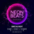Modern Club Music Neon Beats Party Template, Dance Party Flyer, brochure. Night Party Club Banner Poster.