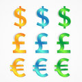 Modern colored set money currency Stock Images