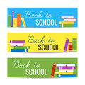 Modern colorful horizontal banners template with stack of books and Back To School text. Library, education concept Royalty Free Stock Photo
