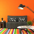 Modern colorful living-room. Royalty Free Stock Images