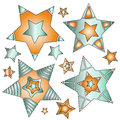 Modern colorful star collection Royalty Free Stock Photo