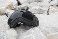 Modern Combat Helmet On Ground.