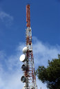 Modern communication tower (transmitter) Stock Photo