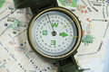 Modern compass on map Stock Photo
