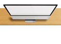 Modern computer monitor with blank screen on wooden desk on white background front view from the top highly detailed illustration Royalty Free Stock Images