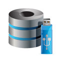 Modern computer server and usb stick illustration design over white Royalty Free Stock Images
