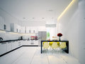 Modern contemporary white Kitchen Royalty Free Stock Image