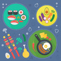Modern cooking love flat concept. Kitchen tools, food dish and cooking infographics design, web elements, poster banners