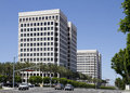 Modern corporate office buildings for lease in park Stock Photos
