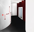 Modern corridor with red drawing on a wall Stock Image