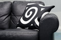 Modern couch leather with abstract pillows Royalty Free Stock Image