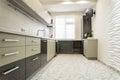 Modern creamy white kitchen clean interior design Royalty Free Stock Photo