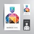 Modern creative business card man shape design. Royalty Free Stock Photo