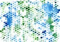 Modern creative pattern of watercolor blue and green prints and spots in the form of honeycombs in grunge style Royalty Free Stock Photo