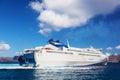 Modern cruise ship sailing on Aegean sea, Santorini Greece Royalty Free Stock Photo
