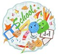 Modern, cute, hand drawn school items in cartoon style