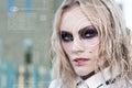 Modern cyber punk woman with digital eye Royalty Free Stock Photo