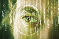 Modern cyber soldier with target matrix eye Royalty Free Stock Photo