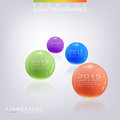 Modern 3d glossy ball elements vector timeline Royalty Free Stock Photo