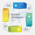 Modern 3D ribbons in the form of a square for business infographics. Vector template with 5 steps, parts, options