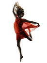 Modern dancer dancing woman  isolated silhouette Royalty Free Stock Photo