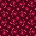 Modern decorative seamless pattern with circle and twirl elements of purple and pink shades Royalty Free Stock Photo