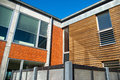 Modern design house with bricks and wooden facade Royalty Free Stock Photo