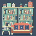 Modern Design Interior Chairs and Bookshelf Royalty Free Stock Photo