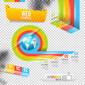 Modern design template with world map infographic numbered banners vector website layout Royalty Free Stock Photos