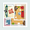Modern detailed floor plan for apartment with kitchen, living room, bathroom and hall. Top view of apartment interior.