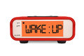 Modern Digital Alarm Clock with Wake Up Sign Royalty Free Stock Photo