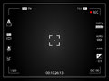 Modern digital video camera focusing screen with settings. Black framed gradient viewfinder camera recording Royalty Free Stock Photo