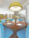 Modern dining room with kitchen in a trendy style kitsch.