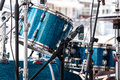 Modern drum set standing in the street stage for performance. mu