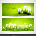 Modern easter banners set of two horizontal with eggs Royalty Free Stock Photography