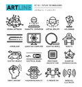 Modern editable vector line icons set of future technologies Royalty Free Stock Photo