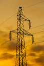 Modern electric high voltage tower. Royalty Free Stock Photo