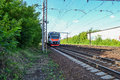 Modern electric train. Russia. Moscow region Royalty Free Stock Photo