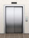 Modern elevator with closed doors extreme closeup Stock Photo
