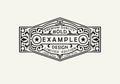 Modern emblem, badge, label, monogram template. Luxury elegant frame ornament line logo design vector illustration.