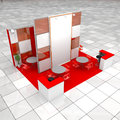 Modern exhibition stand high resolution render of one Stock Photos